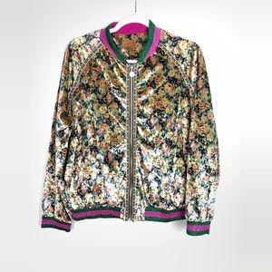 POL | Floral Velvet Bomber Jacket Size Medium